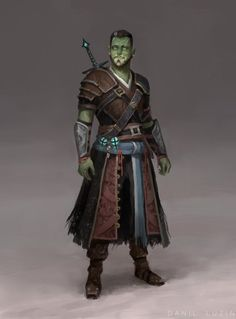 m Half Orc Warlock midlvl Leather Armor Sword Fjord, Hexblade (Critical Role - Season Orc Warrior, Fantasy Warrior, Fantasy Rpg, Medieval Fantasy, Dungeons And Dragons Characters, D D Characters, Fantasy Characters, Fantasy Inspiration, Character Inspiration
