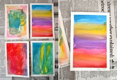 These small paintings are beautiful, aren't they? I love this project. It is perfect for any age and the white edge is so striking and arty it just makes me happy. Truly, you could have the ugliest little painting but when that tape comes off it becomes a Rothko or an O'Keefe. It's magical!