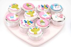 How gorgeous are the cupcakes at this Llama Birthday Party?! See more party ideas and share yours at CatchMyParty.com  #catchmyparty #partyideas #llamaparty #llamacupcakes#llamadessertable #cactusparty  #girlbirthdayparty #girl1stbirthdayparty