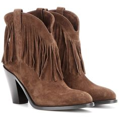 Saint Laurent Curtis 80 Fringed Suede Cowboy Boots (44.730 RUB) ❤ liked on Polyvore featuring shoes, boots, botas, brown, suede fringe booties, brown cowgirl boots, suede booties, brown fringe booties and fringe cowboy boots