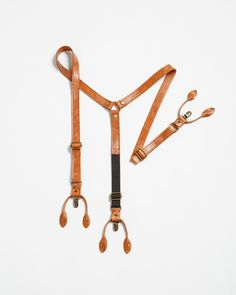Brown Leather Suspenders from JeanLorent.com