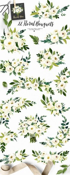 Watercolor White Flower Clip Art by Graphic Box
