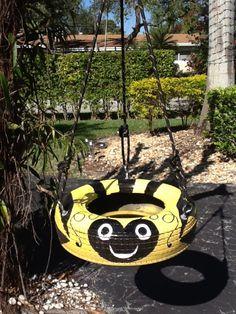 Sooo Cute.. Bumblebee Tire Swing from from www.cooltireswings.com