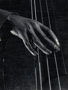 Jam Session: Hand of unident, bass player on the strings during jam session at photographer Gjon Mili's studio  By Gjon Mili, New York, 1943