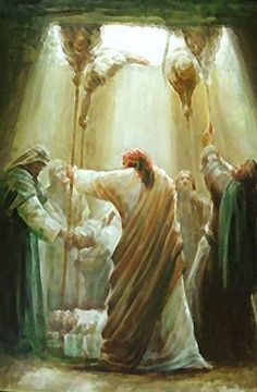 Christ healing the palsied man ~artist unknown. Bible Pictures, Jesus Pictures, Lds Art, Bible Art, Arte Lds, Life Of Christ, Prophetic Art, Biblical Art, Jesus Lives