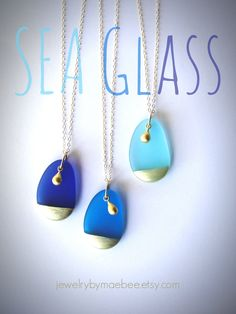 Gold-dipped Blue Seaglass necklaces from JewelryByMaeBee on Etsy. www.jewelrybymaebee.etsy.com