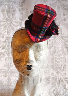 Steampunk Mini Top Hat - Red Plaid with Miniature Crow - Victorian Tea-Party Mini Top Hat - Ready to Ship