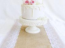 Tischläufer Jute mit Spitze Hochzeit
