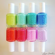 Essie nail polish color's of the rainbow. Love Nails, How To Do Nails, Pretty Nails, Essie Nail Polish, Nail Polish Colors, Nail Polishes, Essie Colors, Cute Nail Designs, Creative Nails