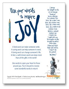 Deck the Halls With This Poster by Peter H. Reynolds!  words_inspire_joy_poster_thumb  I love Peter