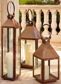 Notable for their traditional appearance, our large Solano Lanterns combine classic design with modern craftsmanship techniques. Each lantern is electroplated in a copper sulfate bath to create a smooth, seamless copper coating, then hand-torched with an open flame to produce the one-of-a-kind burnished finish. Made of corrosion resistant stainless steel and sturdy tempered glass, each piece will retain its masterfully handcrafted appearance for years.