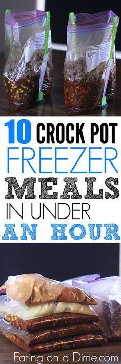 Easy Crock pot recipes. We have 10 crockpot make ahead Meals meals in under 1 hour!