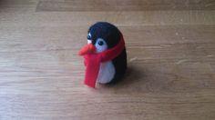 Penguin needle felted Christmas ornament gift by FeltedByRikke