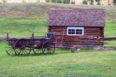 Hornbek Homestead Building and Wagon, Florissant Fossil Bed National Monument, Colorado, August 24, 2004 (pinned by haw-creek.com)
