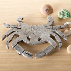 """Crab Trivet Coastal Beach Kitchen Hot Pad, Textured Aluminum, 8"""""""