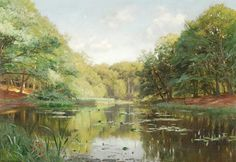 Peder Mork Monsted (1859-1941). A summer lake, oil on canvas, Signed and dated 1889 lower