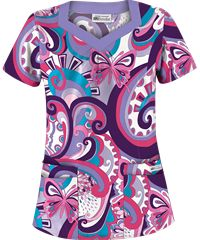 UA Butterfly Ocean Eggplant Print Scrub Top Style #  UA649BOE | Radiant Orchid