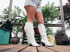 The Sinatra's White Fringe Boots – Baha Ranch Western Wear White Cowboy Boots, Cowgirl Boots, Fringe Boots, Turquoise Rings, Comfortable Fashion, Black Faux Leather, Back To Black, Western Wear, Shoe Game