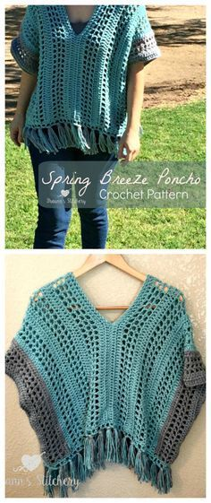 This Spring Breeze Poncho is a little shorter than your typical poncho, with an open and airy pattern. Since it's spring, I didn't want anything too heavy. Being in the desert, I won… Shrug Pattern, Crochet Poncho Patterns, Crochet Shawls And Wraps, Crochet Cardigan, Crochet Scarves, Crochet Clothes, Crochet Stitches, Crochet Sweaters, Crochet World