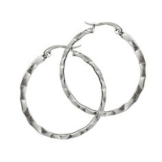 $19.99 - Date Night Jewelry!  Fun Simple Hammered Round 316L Titanium Stainless Steel Hoop Earrings for Women