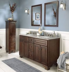 Foremost Hawthorne 60 in. Dark Walnut Double Bathroom Vanity with Mirrors - The Foremost Hawthorne 60 in. Dark Walnut Double Bathroom Vanity with Mirrors has a wide, elegant frame that makes an ideal traditional-style his-and-her. Bathroom Wall Colors, Wood Bathroom, White Bathroom, Bathroom Furniture, Modern Bathroom, Bathroom Ideas, Bathroom Small, Dark Furniture, Ikea Bathroom
