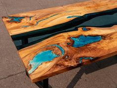 River glass live edge dining elm table with turquoise glowing image 4 Glass Dining Table, Resin Table, Wood Table, Table Bench, Powder Paint, Selling Handmade Items, Tung Oil, Live Edge Table, Wood Creations