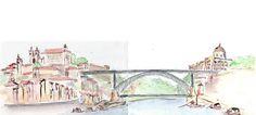Urban Sketchers Portugal: Porto e Gaia e a Ponte D. Urban Sketchers, Gaia, Portugal, Honeymoon Ideas, Cute, Painting, Top, Saint Michael Tattoo, Water Colors