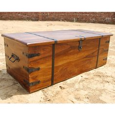 Large Solid Wood Storage Box Trunk Chest Coffee Table W/ Wrought Iron Hardware