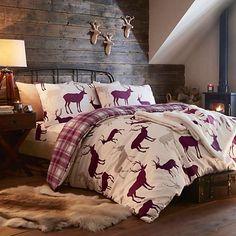 Tartan Check Stag Rein Deer Duvet Quilt Cover Double