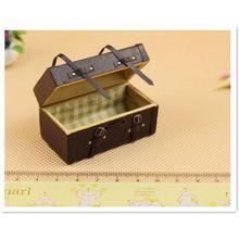 Neue 1:12 Miniatur Braun Holz Koffer Aktentasche Für Puppenhaus Zubehör, Vintage Miniatur Puppenhaus Zubehör 2 Teile/los(China (Mainland))