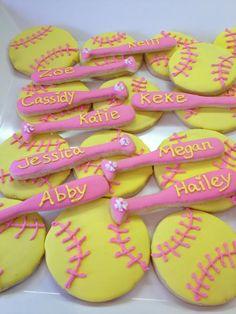 Baseball Little League Softball Cookies, Softball Cupcakes, Softball Treats, Softball Team Gifts, Softball Drills, Softball Coach, Softball Players, Girls Softball, Softball Cheers