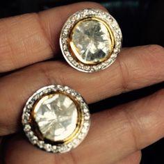 Open polki studs with diamonds