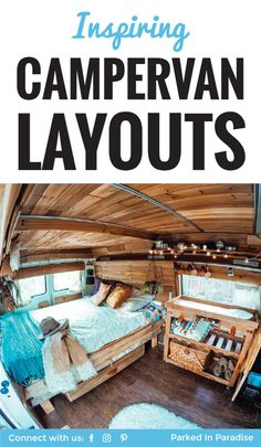 A cool list of creative and inspiring campervan layouts! Lots of cool van life ideas here from rustic to modern interiors. I love the idea of using recycled wood in my next project. I can wait to start my next van build! #vanlife via @parkedinparadise