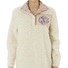 Monogram Sherpa Pullover Sherpa Pullover Adult Sherpa Pullover Adult... ($31) ❤ liked on Polyvore featuring grey, sweatshirts and women's clothing