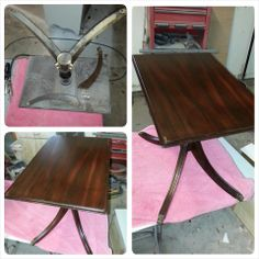Repaired broken legs and refinished top to table