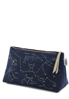 Celestial Chateau Makeup Bag - Woven, Nifty Nerd, Cosmic, Good, Blue, Tan / Cream, Novelty Print, Travel