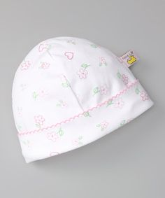 Take a look at this White & Light Pink Hearts Flower Beanie by Noa Lily on #zulily today!