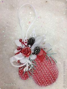 Скрапбукинг Новый год Рождество Ассамбляж Скрап магнит Варежка Картон фото 7