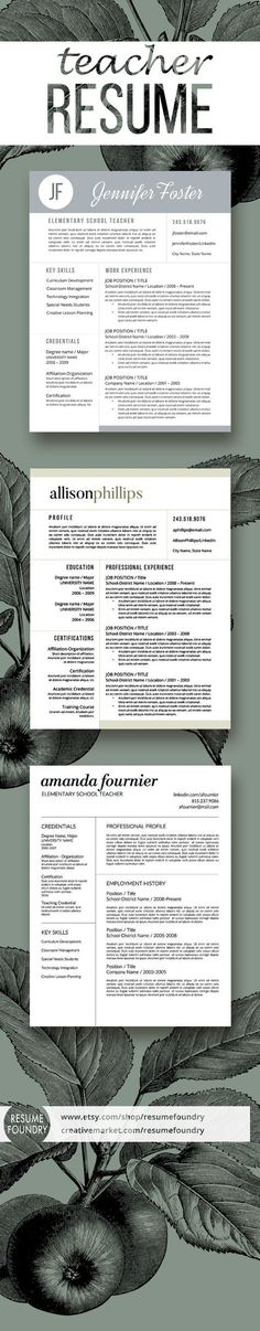 Resume Design : Selection of great teacher resumes simple clean easy to use. Teaching Resume, Resume Writing, Teaching Tools, Teaching Resources, Teacher Resume Template, Modern Resume Template, Teacher Resumes, Resume Templates, Teacher Portfolio