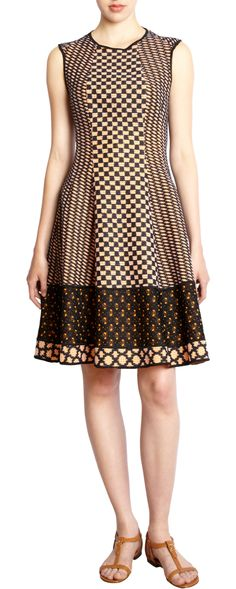 Cute crocheted geometric pattern dress. Nice lines. $1,695