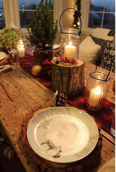 Inspiração para mesa rústica de Natal ~ Decoração e Ideias