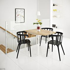 Fold it up: For small open plan kitchens, folding tables can be a great and stylish way to add a dining table without taking up the entire room as they can easily be folded down and stored in the corner when not needed
