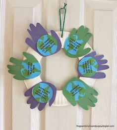 Handprint Wreath for Earth Day-kid craft10  Earth Day Activities for Kids10 Ways to Craft and Play with Recycled Materials
