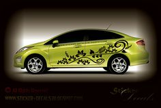 Monochrome Flower Car Decal