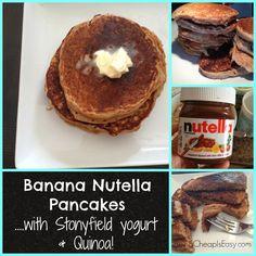 Banana Nutella Pancakes with Stonyfield Yogurt + Quinoa!
