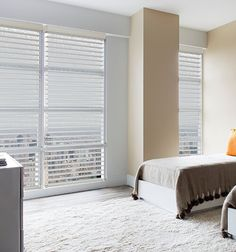 Sheer Shades shown in White Drapery, Curtains, Sheer Shades, Light Filter, Custom Window Treatments, Diffused Light, Room Darkening, Blinds, Canada