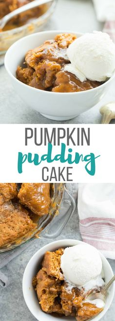 Easy Pumpkin Pudding Cake takes just 10 minutes prep and makes it's own caramel pudding sauce as it bakes!This Easy Pumpkin Pudding Cake takes just 10 minutes prep and makes it's own caramel pudding sauce as it bakes! Köstliche Desserts, Delicious Desserts, Dessert Recipes, Easy Pumpkin Desserts, Best Thanksgiving Desserts, Thanksgiving Baking, Yummy Food, Healthy Pumpkin, Yummy Eats