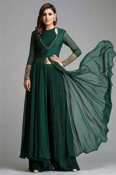 This Bottle Green Georgette Anarkali Suit accompanied by a matching Georgette Palazzo Pant in Bottle Green Color with Bottle Green Georgette Dupatta. Dupatta embroidered with Stone Work. Indian Gowns, Indian Attire, Pakistani Dresses, Indian Outfits, Indian Anarkali, Pakistani Suits, Indian Wear, Outfits Dress, Floral Skirt Outfits