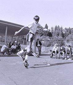 Rodney Mullen at Kenter Canyon School with Minor Threat looking on, photo Glen E. Friedman 1982