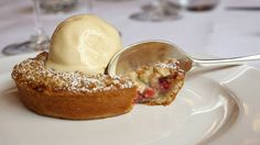 Elderberry and apple crumble pie at The Ivy